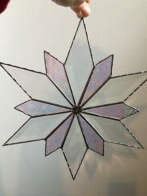 """Beautiful Beveled Stained Glass Art - Clear and Iridescent Glass Flower 12.5"""""""