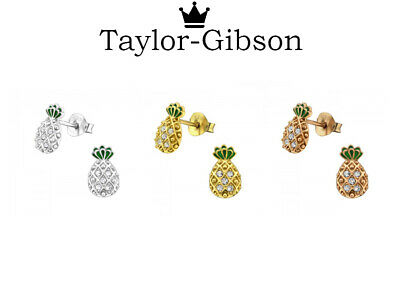 925 Sterling Silver Pineapple Earrings Studs Small Crystal Gold Rose Gold