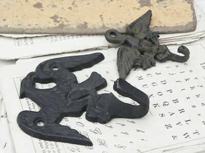 2 Vintage Cast Iron Eagle Key Jewelry Towel Hooks DIY Farmhouse Schoolhouse