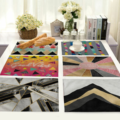 Colorful Geometric Stripes Cotton Linen Placemat Dining Table Mat Home Kitchen