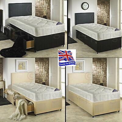2Ft6 3Ft Kids Adults Divan Bed + Quilted Mattress +2 Drawers Storage & Headboard