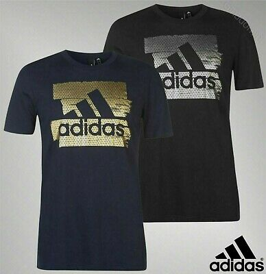 Mens Genuine Adidas Short Sleeves Badge Of Sport Foil Print T Shirt Size S-XXL