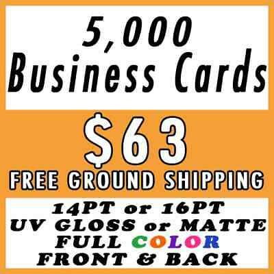 5000 Full Color 2-Sided Business Cards Printing Free Shipping UV Gloss Matte