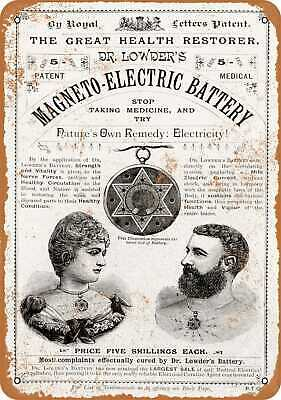 1889 Magneto Electric Battery Healing Necklace - Rusty Look 10x14 Metal Sign