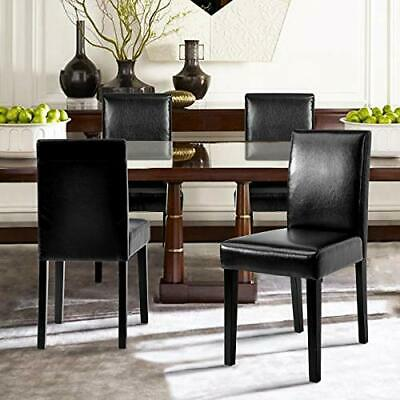 Michael Dining Chair (Set of 2) Solid Wood Legs - Black, Faux Leather)