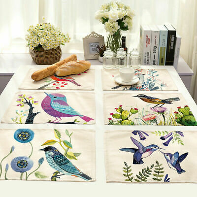 Hand Painted Bird Cotton Linen Insulation Placemat Dining Table Mat Home Kitchen