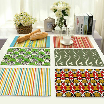 Green Leaf Stripe Insulation Cotton Linen Placemat Dining Table Mat Home Kitchen