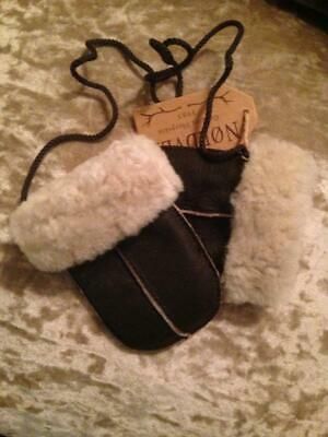 NORDVEK Sheepskin Baby PUDDY MITTENS with String Chocolate Brown Leather NEW