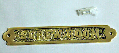 "8'' Solid Brass ""SCREW ROOM"" Door Sign Nautical Boat Cabin Wall Decor Plaque"