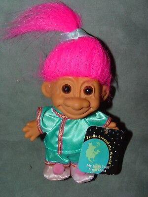 """Troll Doll 4 1/2"""" Russ China Chinese Pink Hair Around the World w/tag"""