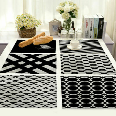 Black White Stripe Cotton Linen Placemat Dining Coffee Table Mat Home Kitchen
