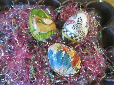 Mackenzie Child's 4'' Easter Eggs,set Of 3 ,hand Made By Me