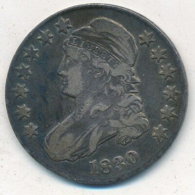 1830 Capped Bust Silver Half Dollar-Very Nice Circulated Half-Ships Free! Inv:3