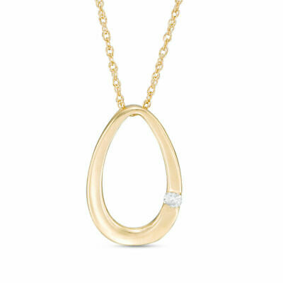 Diamond Accent Solitaire Oval Pendant in 10K Rose, White, and Yellow Gold