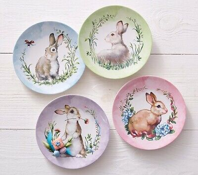 Pottery Barn Kids Monique Lhuillier Bunny Easter Plates Set Of 4 New