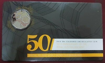 2015 50th Anniversary Of The Royal Australian Mint Coloured 50c Unc Coin