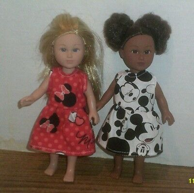 """6/6.5"""" Doll Clothes-fit Mini American Girl My Life-2 Dresses-Minnie Mickey Mouse"""