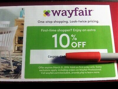 Wayfair 10% Off Coupon First Time Shopper Promotional Code Promo Exp 3/31/2019