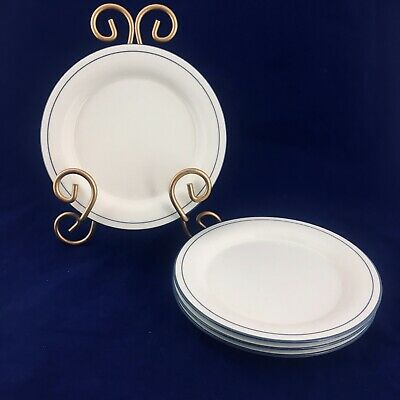 4 LENOX Chinastone FOR THE BLUE PATTERN Blue Pinstripes Bread & Butter Plates
