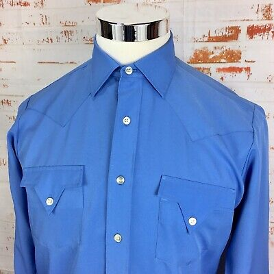 Vintage Fenton Mens Western Button Up Shirt Large L X-Long Tails Baby Blue USA