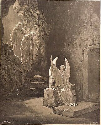 THE ANGEL AT THE SEPULCHER BY GUSTAVE DORE c.1889 PRINT SATAN ANGELS DEMONS HELL