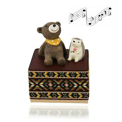 Wooden Hand Cranked  Cute Animals Music Box with Beautiful Melody Great Gift