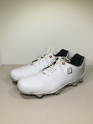 f47e72539e83f5 FootJoy DNA Helix Men's Size 9M White/Silver Lace Up Golf Shoes TF-322