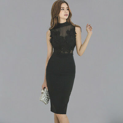 2019 Sexy Lace See Through Patchwork Hollow Out New Slim OL Work Sheath Dresses