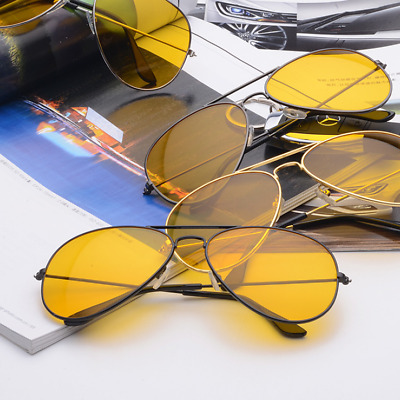 Men Driving Night Vision Sun Glasses Yellow Lens UV400 Aviator Unisex Sunglasses