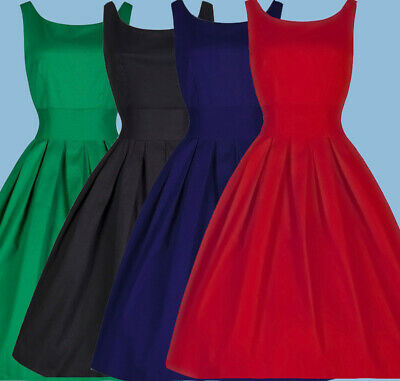 Womens Ladies 50s 60s Style Vintage Rockabilly Evening Party Retro Swing Dress