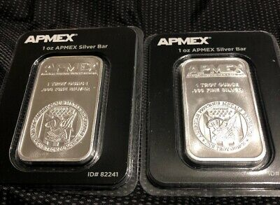 2x 1oz APMEX SILVER BARS. .999 FINE. SEALED. FREE SHIPPING