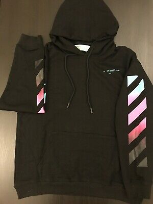 "e109abedb45 off-white c o virgil abloh Gradient "" Business Casual "" Hoodie Black Size"