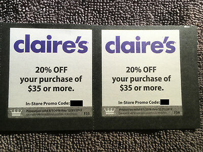 Lot of Claire's Coupons Valid through 12-31-19