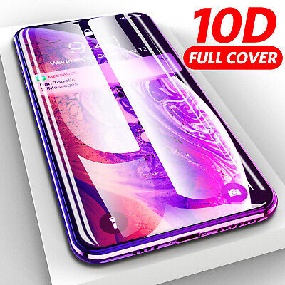 10D FULL Tempered Glass Screen Protector for iPhone 6 7 8 Plus X XR XS Max CA IL