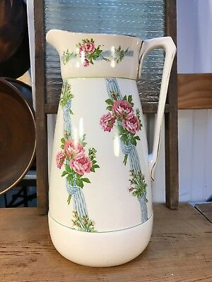 Large Antique English Booths Rose Bouquet Water Pitcher Jug Vase