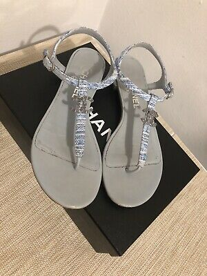 5031e600aab CHANEL TWEED LEATHER CC THONG SANDALS 38 C US 8 -  274.55