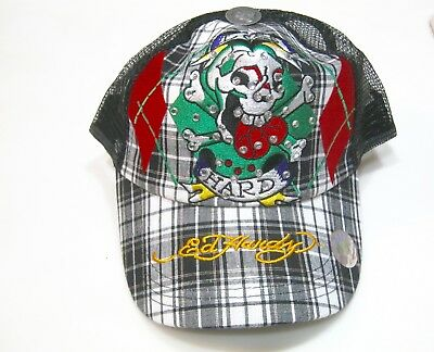 96a04946ffd Ed Hardy Trucker Hat Cap Snapback Adjustable Skull Black Plaid Mesh  Rhinestones