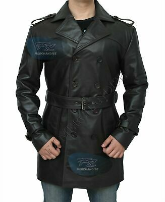 d4ca7e5ce MENS GERMAN CLASSIC Ww2 Officer Military Uniform Black Leather Trench Coat