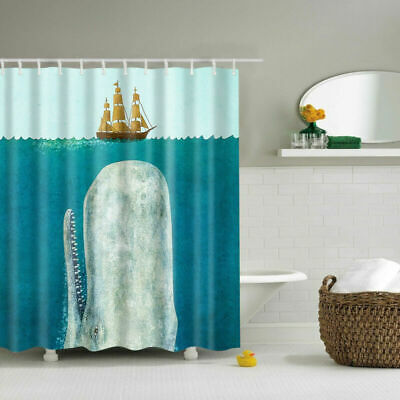 Whale Sailing Polyester Waterproof Bathroom Fabric Shower Curtain 12 Hook