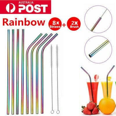 8 x Kitchen Stainless Steel Metal Drinking Straw Reusable Washable +2 Brushes AP