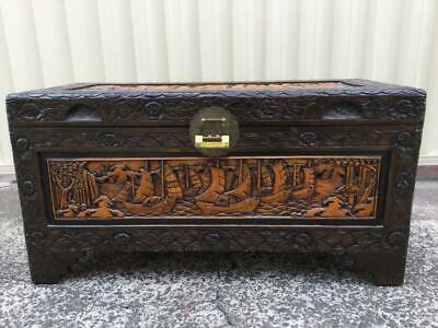 Vintage Wooden Oriental Chinese Carved Comphor Chest Blanket Glory Storage Box