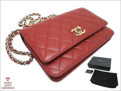 5f5ba1fe55a2 Authentic CHANEL Matelasse Lamb Skin Chain Wallet A80982 (CNF0093)