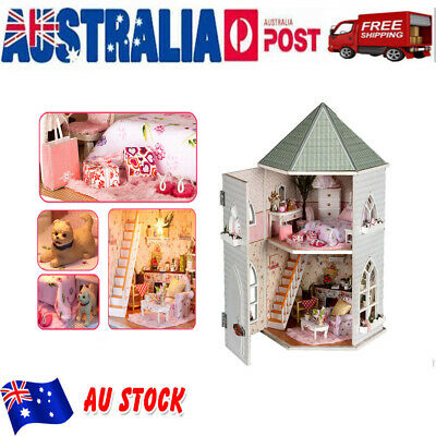 Kid Girls Play Dollhouse Large Wooden Furniture Doll House Gift Accessories New