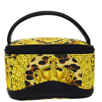5c7b86a6e1ec Authentic GIANNI VERSACE Vanity Hand Bag PVC Leather Leopard Gold Italy  06B333