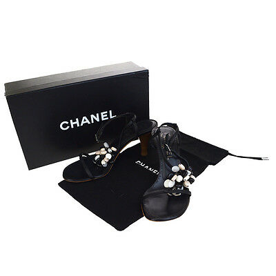 6a3a43c9f51 Auth CHANEL CC Logos Shoes Sandals Mule Leather Plastic Black  36 Italy  09F339
