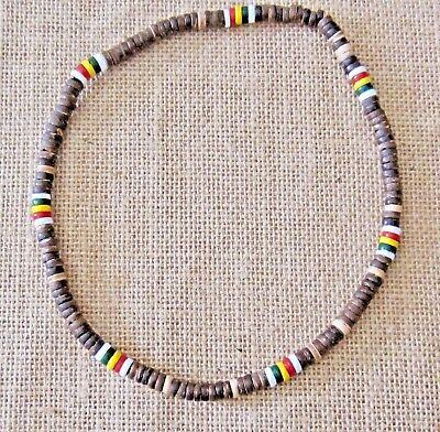 Beaded Necklace Brown Wood Wooden Beads Natural Brown Rasta Surf