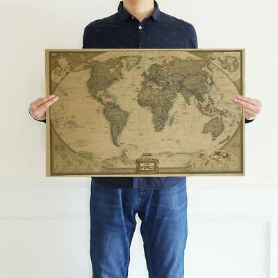 Cool Vintage Retro World Map Antique Paper Poster Wall Chart Home Decoration UK