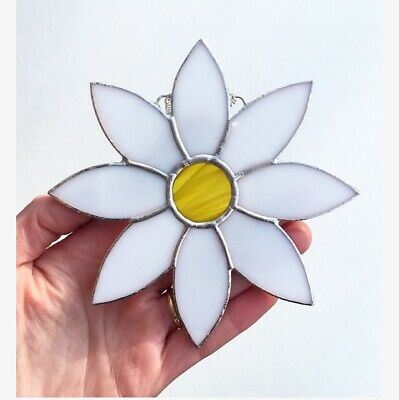 Handmade Stained Glass White Yellow Flower Suncatcher Glass, Glass Decoration