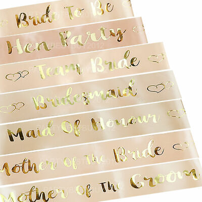 Rose Gold Hen Party Sashes Bride To Be Sash Wedding Girls Night Out Hen do Par A