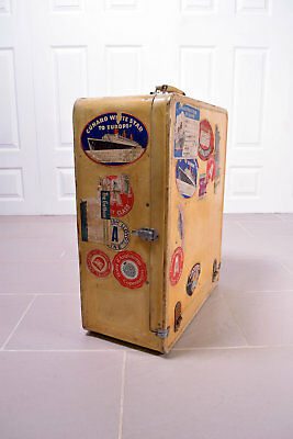 Early 20th Century Pig Skin Travel Suitcase Trunk Wardrobe Labels Art Deco